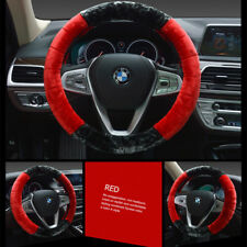 1 Pc Set Soft Steering Wheel Cover Fuzzy Wool Plush Car Winter Warmer 38CM Red