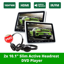 """2xBlack HDMI 10.1"""" LCD Car Headrest Active Monitor Pillow DVD Player Game Kids E"""