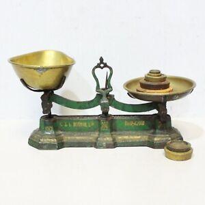 Antique G & B MORVAN Ltd Birmingham CAST IRON Kitchen Scales + Weights - 232