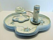 Antique 5 Pc. Vanity Porcelain Set, Painted Forget-Me-Nots + Gold Trim ~ 1900-10