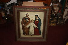 Antique Jesus Christ Mother Mary Joseph Religious Christianity Print-Wood Frame