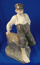 LARGE Royal Copenhagen Figurine BOY ON STONE #1659