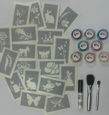 Kit de tatuaje purpurina para chicos/chicas 125 Stencils, 8 Glitters, cepillos de Pegamento &!