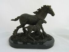 "2005 Budweiser ""Running Free Mare and Foal Clydesdale Figurine-F19-Bronze Finish"