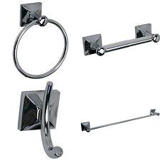 4 Piece Bathroom Accessory Set with 24inch Single Towel Bar Chrome