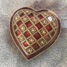BOMBAY COMPANY BURGUNDY ENAMEL HEART SHAPED JEWELRY BOX 4 VALENTINE'S DAY!**$29!