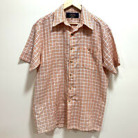 Callan Mens Vintage Short Sleeve Shirt Size M Orange & White Plaid Check Pattern
