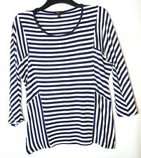 NAVY BLUE WHITE STRIPED LADIES CASUAL TOP BLOUSE SIZE L CUPIO STRETCH