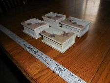 lot of 4 Small white jewelry/treasure boxes adorned w/ sand & shells