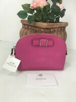 New Coach Cosmetic Bag Darcy Pink Leather Structured Bow Dome ZIP F52630 M6