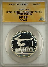 1980 Proof USSR Olympics Gymnastics 5R Roubles Silver Coin ANACS PF-68 DCAM (A)
