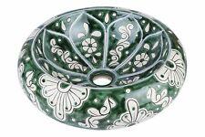 Okrągła umywalka nablatowa ceramiczna do łazienki w odcieniach zieleni - Baila