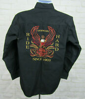 Harley Davidson Embroidered Black Long Sleeve button down shirt sz Small Eagle