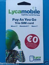 LYCAMOBILE PAY AS YOU GO IRISH NETWORK IRL SIM CARD MICRO NANO STANDARD IRELAND