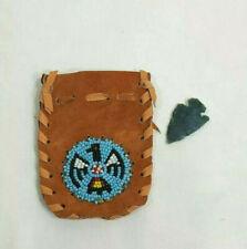 Totem Eagle Beaded Leather Bag Medicine Pouch Stone Arrowhead Bird Lot Gift Set