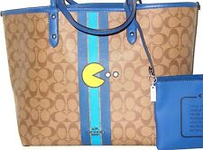 Coach Limited Edition Pac Man Reversible City Tote Khaki/Denim F57277 NWT $395