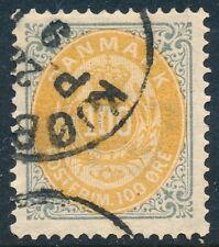 Denmark Scott 34/Afa 31, 100ø gray/yellow Bicolour, Vf fresh Used, 1st print