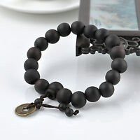 Men's Wood Buddha Buddhist Prayer Beads Tibet Mala Charm Lucky Wrist Bracelet US