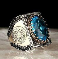 Luxury Blue Aquamarine Stone Solomon Seal 925 Sterling Silver Handmade Mens Ring
