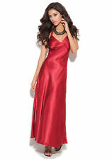 Elegant Moments Sexy Red Satin Halter Neck Gown Lingerie Dress Womens Plus Size