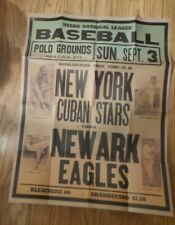 Negro League New York Cuban Stars Vs Newark Bears Distressed Reprint Poster Ad