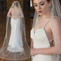 Long Wedding Bridal Veils White Ivory Cathedral Length Beaded Shiny Sequins Edge