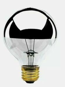 Bulbrite 100G25HM Half Chrome 100W Globe Shape Bulb - 2 Pack