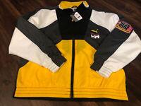 New Puma Helly Hansen Track Full Zip Warmup Jacket Size Medium Black Yellow