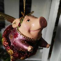 Ausgefallene Schweinfigur Schwein Ringel Flügel Hängen Glitzer Figur Dekoration