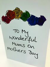 Mothers Day Rainbow Roses Greeting Card Lesbian Gay Mothers Day Card