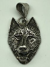 STUNNING HUGE SOLID STERLING SILVER WOLFS HEAD PENDANT 3-DIMENSIONAL 13.4g