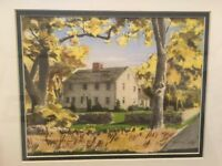 Vintage Farm House Davis Gray Watercolor Hand-Painted Art Print 8x10