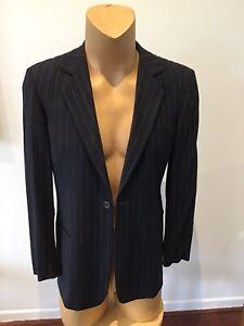 """Mens EMPORIO ARMANI Wide Leg Blue Pinstriped Suit..size Eur 48"""" .."""