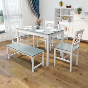 Grey Dining Table and 4 Chairs & Bench Set Solid Wooden Home Kitchen Furniture
