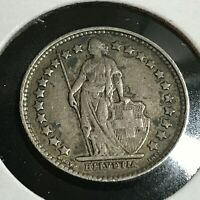 1908 SWITZERLAND 1/2 SILVER FRANC NICE COIN