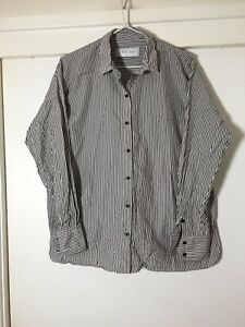 Iro Womens Black And White Striped Button Shirt Size S Long Sleeve Good Condt