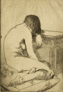 A. M. Price pencil signed original etching; Seated Nude 1925