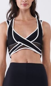 Casual Black White Trim Active Wear Crop Cleavage  Top Net Trim New XL Work Out