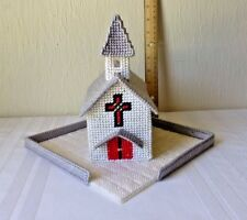 Vintage Plastic Canvas Christmas Village White Church with Gray Roof Handmade
