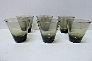 KAJ FRANCK MID CENTURY SMOKEY ART GLASS DRINK SET 6 DRINKING GLASSES 1960s