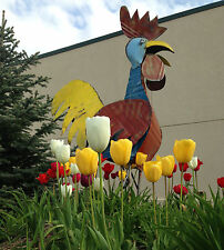 "70"" Recycled Metal Funky Rrooster Yard Art Garden Decor"