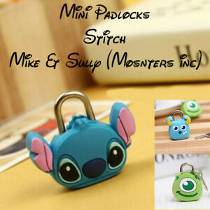 Cute Mini Stitch/Mike/Sully Padlocks (Bags, Backpacks etc) -  Fast and Free Post