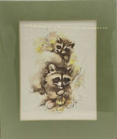 Paul Whitney Hunter 8 X 10 Matted Print - Raccoons.