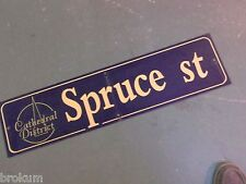 """Vintage SPRUCE ST Cathedral District Street Sign 36"""" X 9"""" - GOLD on NAVY Ground"""