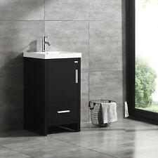 New Bathroom Vanity Cabinet Modern Design Undermount Resin Sink & Drawer Black