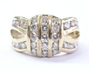 Fine Round Cut Diamond 3-Row Yellow Gold Jewelry Ring 1.30Ct
