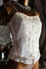 Vintage embroidered ivory cream bodice corset guepiere bustier vest lace 42 IT