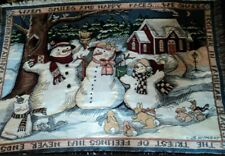 Snowman Family Throw Blanket S Winget Warm Smiles Happy Faces Afghan cat bunny