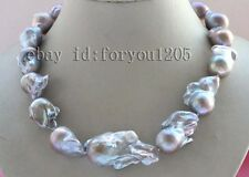 "19"" Genine Natural 45mm Baroque Purple reborn Keshi Pearl  Necklace 14k #f2590!"