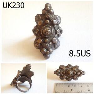 Stunning Medieval Old Silver TURKOMAN Uzbek Shield Ring Us Size 8.5US #UK230a